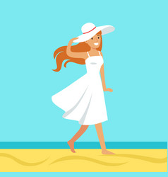 Beatuful woman in a white dress and beach hat vector