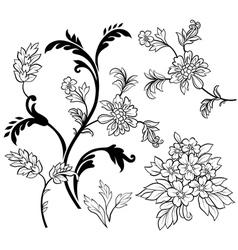 black outline flower elements vector image vector image