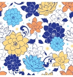 Blue gold flowers seamless pattern vector