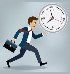 Business man running and hurry up vector