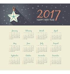Calendar 2017 year with christmas star vector