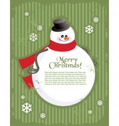 Christmas postcard with snowman vector image vector image