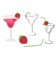 cocktail with strawberry vector image