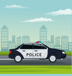 Color background city landscape with police car vector
