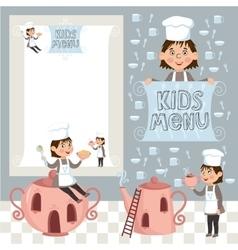 Colorful kids meal menu template vector