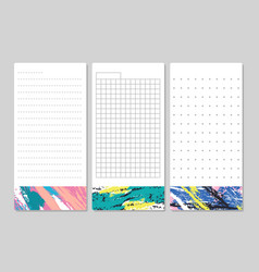 Decorative lined pages for notes schedule lists vector