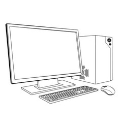 desktop pc computer workstation vector image