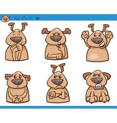 Dog emotions cartoon set vector
