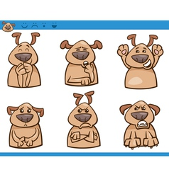 dog emotions cartoon set vector image
