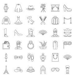fashion icons set outline style vector image vector image