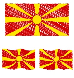 Flat and waving hand draw sketch flag of republic vector