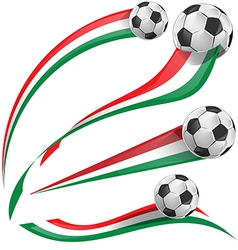 italian flag set with soccer ball vector image