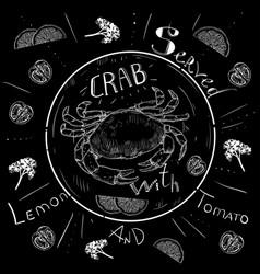 Lettering crab menu fresh crab seafood menu vector