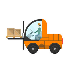 Loading warehouse forklift truck isolated icon vector