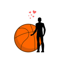 Lover basketball man and ball i love sport game vector
