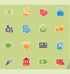 money symbols icon set vector image