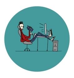 Programmer at work sketch for your design vector image vector image