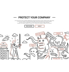 Protect your company - line design website banner vector