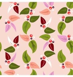 seamless background with leaves and berries vector image vector image