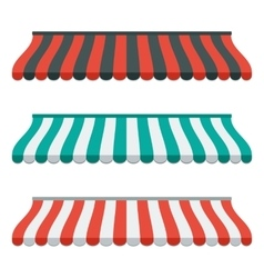Set of striped awnings for shop and marketplace vector