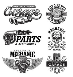 set of vintage monochrome car repair emblems vector image