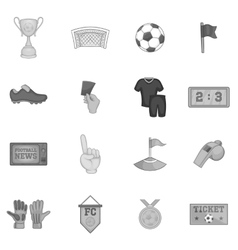 Soccer icons set black monochrome style vector image