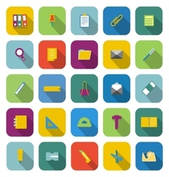 Stationery color icons with long shadow vector image vector image