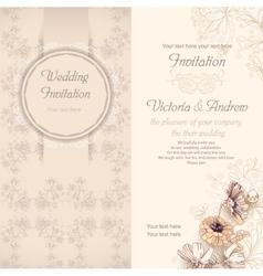 Wedding invitation template beige vector image vector image