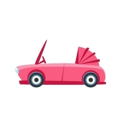 Pink cabriolet toy cute car icon vector