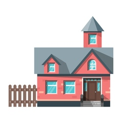 Flat style of red house icon for web vector