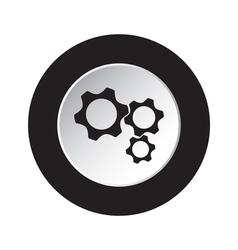 round black and white button - three cogwheel icon vector image
