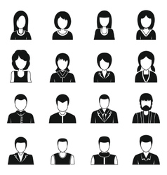 Various people icons set simple style vector image
