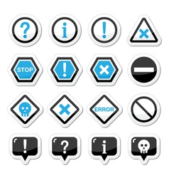 Computer system icons - warning danger vector