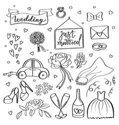 Wedding icons hand sketched wedding vector