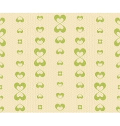 Retro seamless pattern with green hearts vector