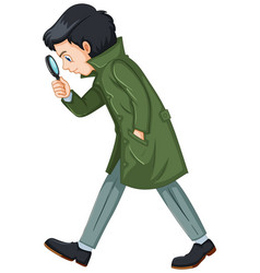 Detective in green overcoat holding magnifying vector