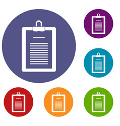 Clipboard with checklist icons set vector