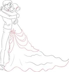 Wedding embracing couple vector