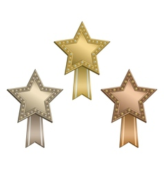 Award star ribbon vector image
