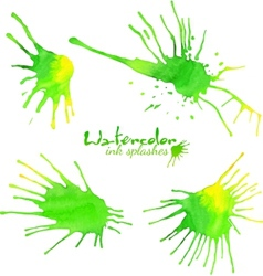 Green watercolor splash blots vector image