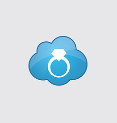 Blue cloud jewelery ring icon vector