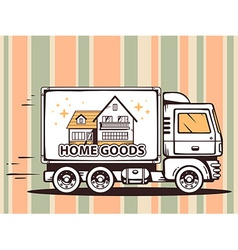 Truck free and fast delivering home goods vector