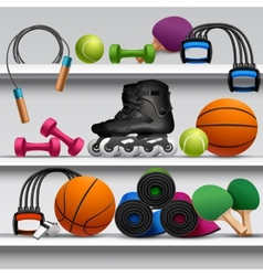 Sport store shelf vector