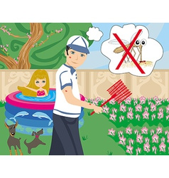 Hunt for mosquitoes in the garden vector
