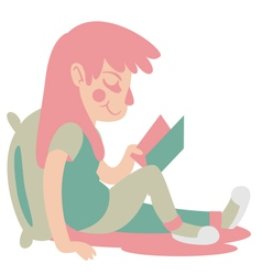 Cute girl reading vector