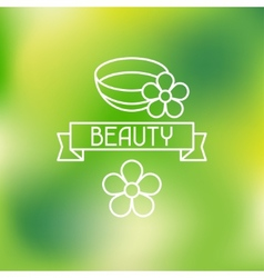 Spa beauty label on blurred background vector