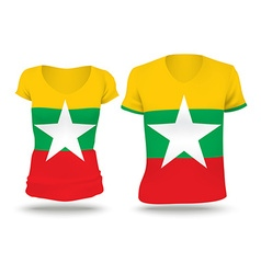 Flag shirt design of burma vector