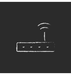 Wifi router modem drawn in chalk vector
