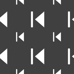 Fast backward icon sign seamless pattern on a gray vector