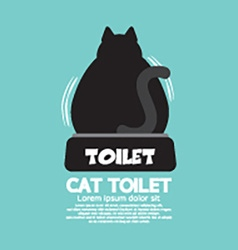 Backside of a cat using toilet vector